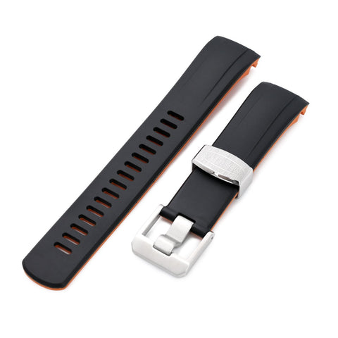 Curved End Rubber Strap for Seiko Samurai SRPB51, Dual Color Curved Black & Orange