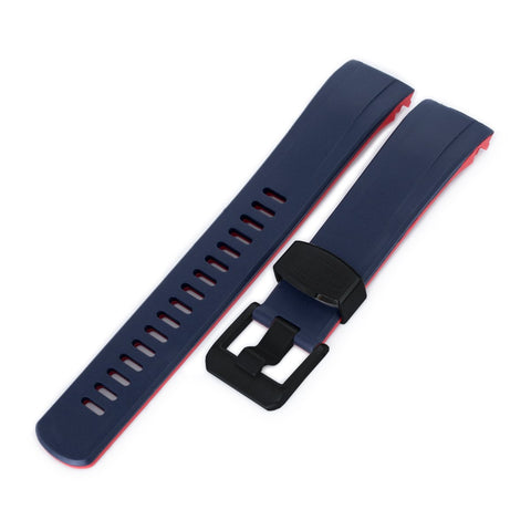 Curved End Rubber Strap for Seiko Samurai SRPB51, Dual Color Curved Blue & Red, PVD Buckle