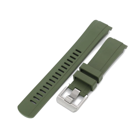 CB10 Military Green Curved End Rubber for Seiko 5