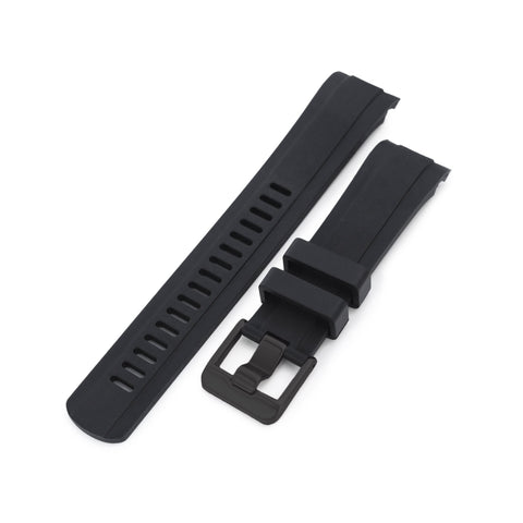 CB10 Black with Carbon Texture Center Curved End Rubber for Seiko 5