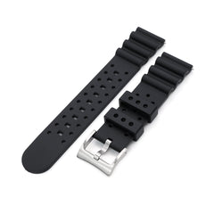 22mm Quick Release Watch Band Black Diver FKM Rubber Strap Brushed Taikonaut Watch Bands