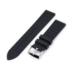 20mm Quick Release Watch Band Black Groove Stripe FKM Rubber Strap Polished Taikonaut Watch Bands