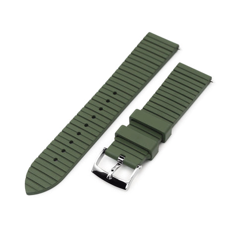 Quick Release Straight End Military Green Groove Stripe FKM Rubber Strap