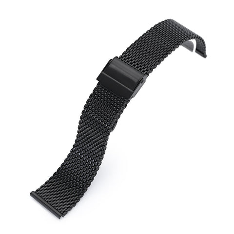 Classic Tapered Wire Mesh Band, PVD Black