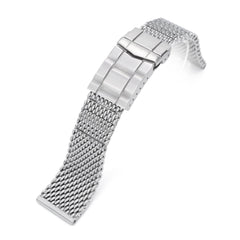 Solid End Massy Mesh Band Stainless Steel Watch Bracelet, SUB Diver Clasp, Brushed