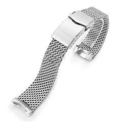 Curved End Massy Mesh Watch Band for Seiko SKX007 V-Clasp Brushed