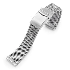 Curved End Massy Mesh Watch Band for Seiko new Turtles SRP777 V-Clasp Brushed