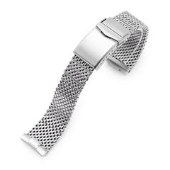 Curved End Massy Mesh Watch Band for Seiko new Turtles SRP777, V-Clasp, Polished