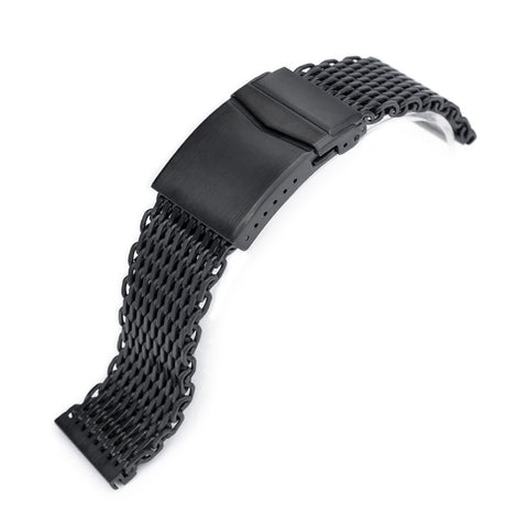 22mm Winghead SHARK Mesh Band, V-Clasp, PVD