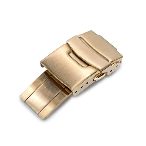18mm Stainless Steel Diver Clasp, Brushed IP Gold