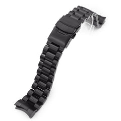 20mm Endmill 316L Stainless Steel Watch Band for Seiko Sumo SBDC001, Diamond-like Carbon (DLC Black) Diver Clasp Taikonaut Watch Bands
