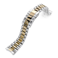22mm Endmill 316L Stainless Steel Watch Bracelet for Seiko SKX007, Two Tone IP Gold, SUB Clasp