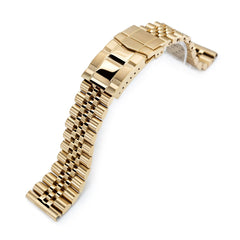 22mm Super Jubilee 316L Stainless Steel Watch Band, Solid Straight End, Submariner Diver Clasp, full IP Gold