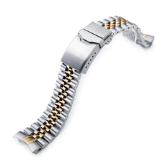 22mm Super Jubilee for Seiko SKX007 Button Chamfer, Two Tone IP Gold