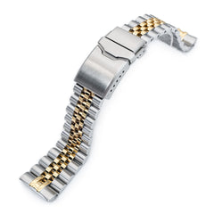 22mm Super 3D Jubilee for Seiko SRP777, Button Chamfer Clasp Two Tone IP Gold