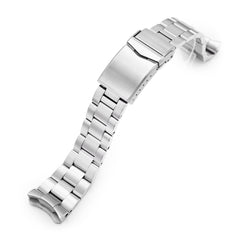 22mm Super-O Boyer 316L Stainless Steel Watch Band for Seiko 5, Brushed V-Clasp