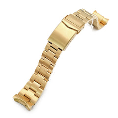 22mm Super-O Boyer 316L Stainless Steel Watch Band for Seiko 5 SRPE74, Full IP Gold V-Clasp