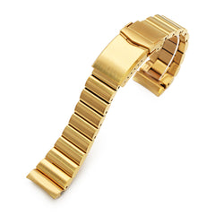 22mm Bandoleer 316L Stainless Steel Watch Band for Seiko new Turtles SRPC44, Full IP Gold V-Clasp