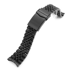 22mm Super-J Louis JUB 316L Stainless Steel Watch Band for Orient Kamasu, Diamond-like Carbon (DLC Black) V-Clasp Taikonaut Watch Bands