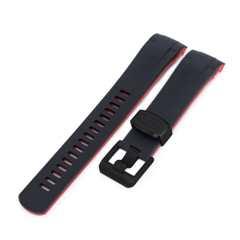 Curved End Rubber Strap for Tudor Black Bay M79230, Dual Color Curved Black & Red , PVD Buckle