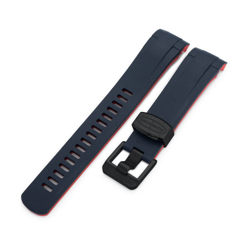 Curved End Rubber Strap for Tudor Black Bay M79230, Dual Color Curved Blue & Red, PVD Buckle