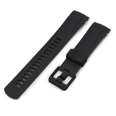 22mm Crafter Blue - Black Rubber Curved Lug Watch Strap for Tudor Pelagos 25500TN, PVD Black Buckle