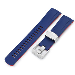 22mm Crafter Blue - Dual Color Blue & Red Rubber Curved Lug Watch Strap for Tudor Pelagos 25500TN