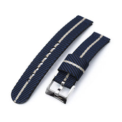 2-pcs Nylon Watch Band, Blue & Khaki, Polished Buckle