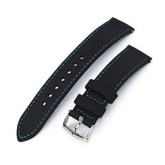 20mm Sailcloth Strap Black Quick Release Nylon Watch Band, Green Stitching