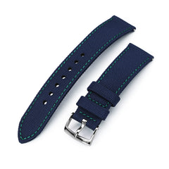 20mm Sailcloth Strap Navy Blue Quick Release Nylon Watch Band, Green Stitching