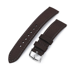 20mm Sailcloth Strap Brown Quick Release Nylon Watch Band, Grey Stitching