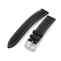 20mm Black Tapered Smooth Leather Watch Band, Brushed Buckle