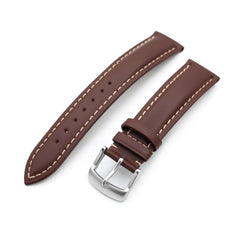 20mm Pecan Brown Tapered Smooth Leather Watch Band, Brushed Buckle