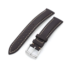 20mm Dark Brown Tapered Semi-matte Leather Watch Band, Brushed Buckle