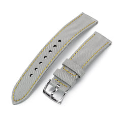 20mm Sailcloth Strap Light Grey Quick Release Nylon Watch Band, Yellow Stitching