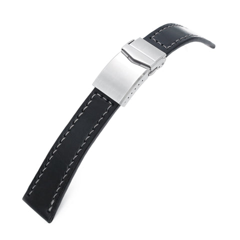 Handmade 22mm Black leather strap, One-piece V-clasp