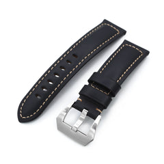 Black Tapered Smooth Leather Watch Band, 22mm or 24mm