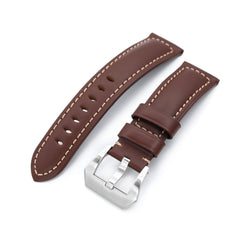 Pecan Brown Tapered Smooth Leather Watch Band, 22mm or 24mm