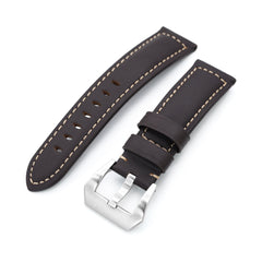22mm Dark Brown Tapered Semi-matte Leather Watch Band, Brushed Buckle