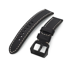 22mm Black Straight Leather Watch Band, PVD Black Buckle