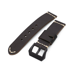 22mm Dark Brown Ammo Leather Watch Band, PVD Black Buckle