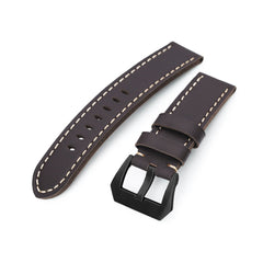 22mm Dark Brown Straight Leather Watch Band, PVD Black Buckle