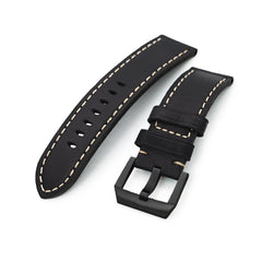 24mm Black Straight Leather Watch Band, PVD Black Buckle