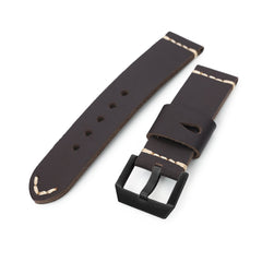 24mm Dark Brown Ammo Leather Watch Band, PVD Black Buckle