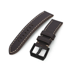 24mm Dark Brown Straight Leather Watch Band, PVD Black Buckle
