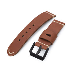 24mm Chestnut Brown Ammo Leather Watch Band, PVD Black Buckle