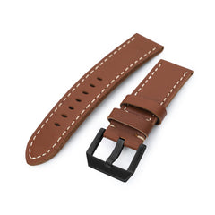 24mm Chestnut Brown Straight Leather Watch Band, PVD Black Buckle