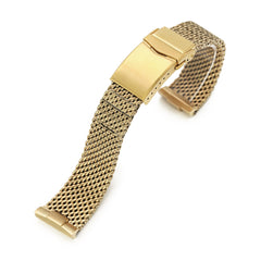 Curved End Massy Mesh Watch Band for Seiko Gold Turtle SRPD46, V-Clasp, Full IP Gold