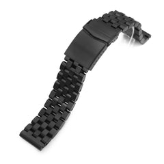 21mm Super Engineer II 316L Stainless Steel Watch Band for Seiko Tuna SBBN013, PVD Black V-Clasp