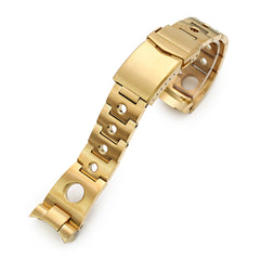22mm Rollball 316L Stainless Steel Watch Band for Seiko 5 SRPE74, Full IP Gold V-Clasp